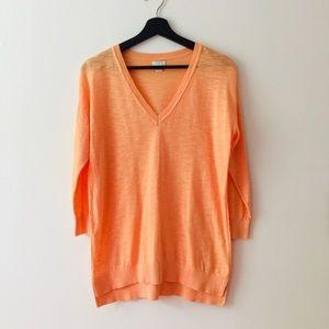 J.Crew s Orange Slub Cotton V Neck Sweater